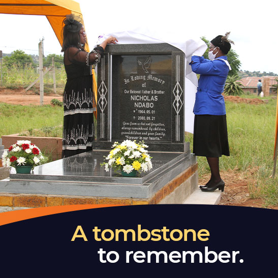 Icebolethu Tombstones Staff unveiling tombstone at a funeral service in KwaZulu-Natal, South Africa